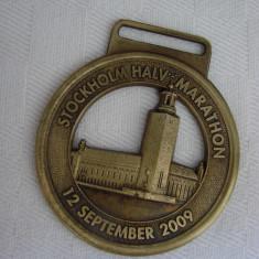 Breloc din alama cu maratonul de 21 km din Stockholm 2009 - Breloc Dama