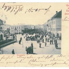 1989 - SIRET, Bucovina, Market - old postcard - used - 1904 - Carte Postala Bucovina pana la 1904, Circulata, Printata