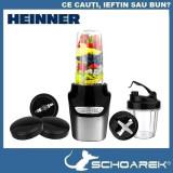 Blender Heinner, 1000 W, 2 recipiente 0.5 l + 1 l, 2 viteze, Pulse, Negru/Inox