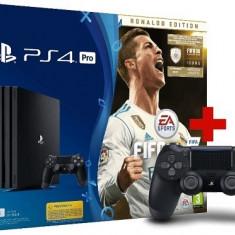 Consola SONY PlayStation 4 PRO (PS4 PRO) 1TB, negru + Joc FIFA 18 Ronaldo Edition + Extracontroller