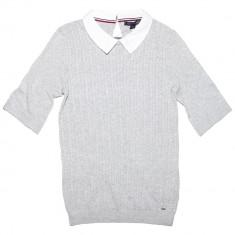 Bluza TOMMY HILFIGER Knit - Bluze Dama, Femei - 100% AUTENTIC - Bluza dama Tommy Hilfiger, Marime: S, Culoare: Gri, Maneca scurta, Bumbac
