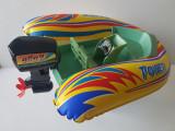 """Jucarie veche > 25 ani, barca barcuta gonflabila """"Power"""" cu motor 3v"""