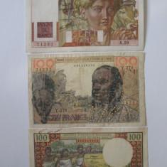 Lot 3 bancnote:Franta=100 Fr.'46, French W.Africa=100 Fr.'57, Madagascar=100 Fr.66, An: 1946