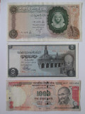 Lot 3 bancnote:Egipt=10 Pounds 1964,Egipt=5 Pounds 1976 UNC,India=1000 Rupees'13, Africa