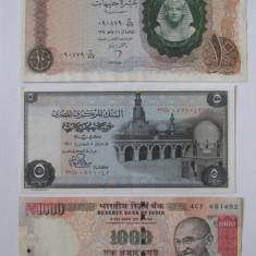 Lot 3 bancnote:Egipt=10 Pounds 1964, Egipt=5 Pounds 1976 UNC, India=1000 Rupees'13, Africa