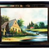 Tablou de la Baia Mare cu rama neagra, Peisaje, Ulei, Impresionism
