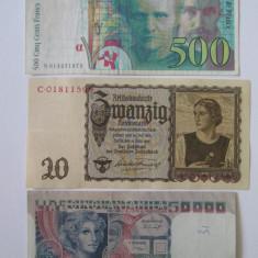 Lot 3 bancnote:Franta=500 Fr.'94, Germania=20 Reichsmark'39, Italia=50000 Lire1977, An: 1939, Europa