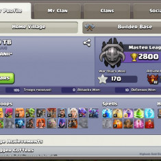 Cont clash royale arena 11 + cont clash of clans th 9 si bh 8