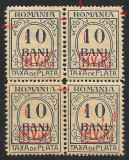 Cumpara ieftin EROARE-- VARIETATI  -TAXA DE PLATA BLOC X4 1918 SUPRA.  MVIR IN CASETA MNH-