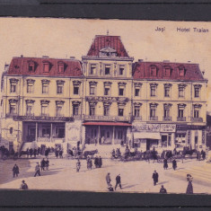 IASI HOTEL TRAIAN CAFENEA INTIM CLUB COAFOR TRAIAN STATUIA CUZA-VODA TRASURI - Carte Postala Moldova 1904-1918, Stare: Necirculata, Tip: Printata