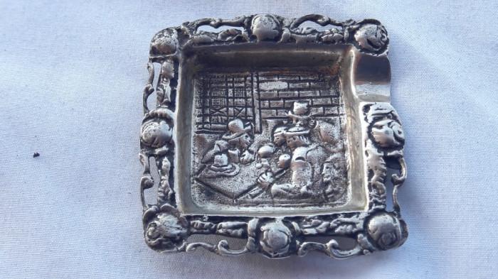 SCRUMIERA argint ORNAMENTATA splendid VECHE scena din CRAMA marcaje VECHI