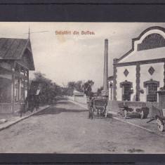 SALUTARI DIN BUFTEA FABRICA DE CONSERVE ALIMENTARE CIRCULATA 1909 - Carte Postala Muntenia pana la 1904, Printata