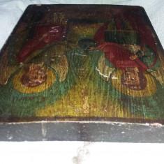 Icoana veche pictata pe lemn,icoana masiva veche MIHAIL si GAVRIL,Trp.GRATUIT