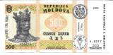 !!! F. RARR :  MOLDOVA  -  500  LEI  1992  -  P 17  -  UNC  / CEA DIN SCAN