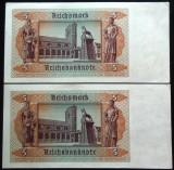Lot/Set 2 Bancnote Serii Consecutive 5 ReichsMark, 1939- GERMANIA *cod B 501 UNC