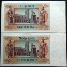 Lot/Set 2 Bancnote Serii Consecutive 5 ReichsMark, 1939 - GERMANIA *cod 105 UNC - bancnota europa