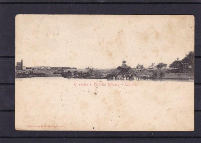 CRAIOVA  O VEDERE A PARCULUI  BIBESCU EDITURA IONITA M. PLESA CLASICA CIRC. 1905