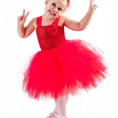 Rochita nunta copii tutu :Lady in red, Handmade in Romania, varsta 4-5 ani