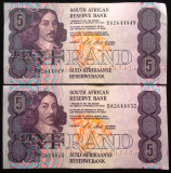 Lot/Set Bancnote 5 RAND - AFRICA DE SUD XF + SERII CONSECUTIVE!!! * cod 123