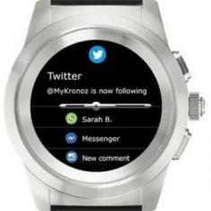 Smartwatch MyKronoz ZeTime Standard, Ecran Touchscreen TFT 1.22inch, Bluetooth, Bratara Silicon, Rezistent la apa (Argintiu/Negru)