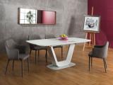 Set masa din sticla si MDF Armani White + 4 scaune tapitate Welton Grey