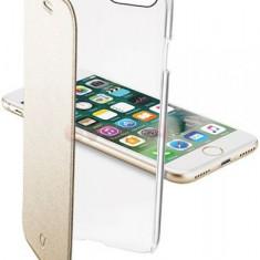 Husa Flip Cellularline CLEARBOOKIPH747H pentru Apple iPhone 7 (Transparent/Auriu) - Husa Telefon