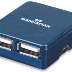Hub USB Manhattan Micro 4 porturi (Albastru)