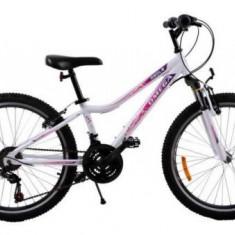 Bicicleta MTB Omega Angle, Roti 24inch, 18 viteze (Alba) - Mountain Bike