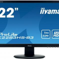 Monitor Gaming TN LED 21.5inch E2283HS-B3, Full HD (1920 x 1080), VGA, HDMI, DisplayPort, Boxe, 75 Hz, 1 ms (Negru), 21.5 inch, IIyama