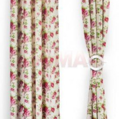 Set doua draperii Heinner HR-DR140-FLWPK, 140 x 270 cm, Bumbac, model Flori Roz (Multicolora) - Perdea