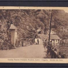 OLTENIA SALUTARI DIN GORJ GRANITA PUNCTUL POLATISTEA ROMANIA AUSTRO-UNGARIA - Carte Postala Oltenia 1904-1918, Circulata, Printata