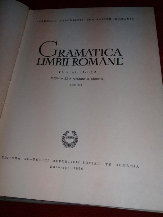 1966,Gramatica limbii romane vol. 2,Carte veche de colectie,interior ca noua,T.G