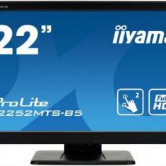 Monitor TN LED iiyama 21.5inch ProLite T2252MTS-B5, TouchScreen, Full HD (1920 x 1080), VGA, DVI, HDMI, 2 ms, Boxe (Negru), 21.5 inch