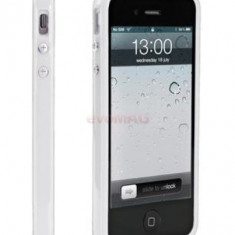 Husa Muvit Bumper Mubkc0585 si folie protectie pentru iPhone 5 (Alba)