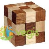 Puzzle logic din lemn: Maro + crem (cutie plastic)
