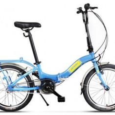 Bicicleta Pegas Camping 3S, Pliabila, Roti 20inch, 3 Viteze (Albastru) - Bicicleta pliabila