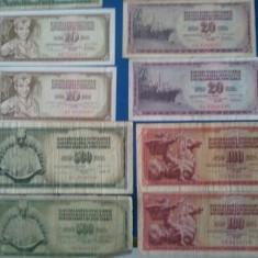 Lot 10 bancnote Iugoslavia, perioada1955-1988, foarte circulate, diferă semnăturile, Europa
