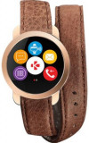 Smartwatch MyKronoz ZeCircle 2 Premium, TFT Capacitive touchscreen, Bluetooth, Bratara Piele, Rezistent la apa si praf (Maro)