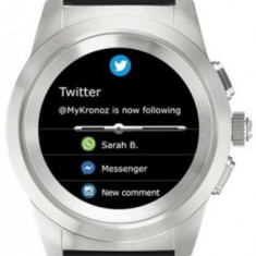 Smartwatch MyKronoz ZeTime Standard 39MM, Ecran Touchscreen TFT 1.05inch, Bluetooth, Bratara Silicon, Rezistent la apa (Argintiu/Negru)