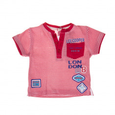 Lee Cooper - Tricou maneca scurta bebe East London Denim rosu cu dungi albe