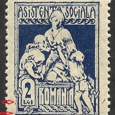 VARIETATE--ASISTENTA SOCIALA--CADRU PARTIAL LIPSA--1921 MNH
