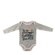 Lee Cooper - Body bebe Crown gri cu margini albe
