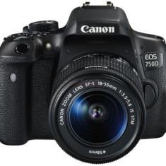 Aparat Foto DSLR Canon EOS 750D, Kit EFS 18-55 IS, Filmare Full HD, 24.2 MP (Negru)