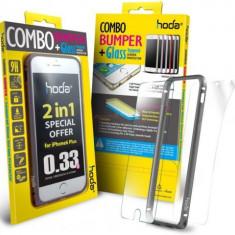 Bumper Hoda Taiwan GBO-IP6P-GY, folie de sticla fata+folie spate, pentru iPhone 6 Plus/6s Plus (Gri) - Husa Telefon