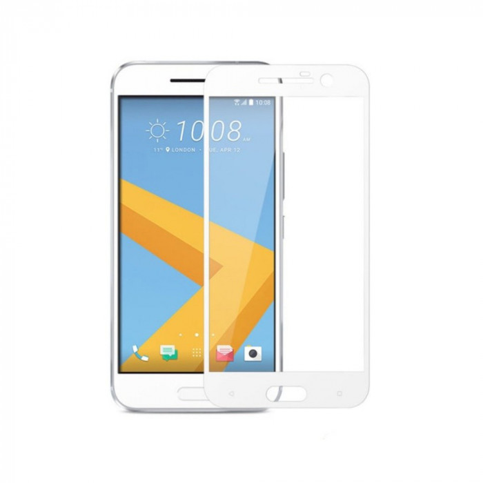 Tempered Glass - Ultra Smart Protection HTC 10 Fulldisplay alb foto mare