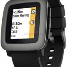 Smartwatch Pebble Time, Color E-paper LED backlight, Bratara silicon, Rezistent la apa si praf (Negru)