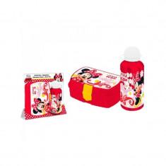 Recipient pentru apa (500 ml)+cutie pranz Minnie Mouse