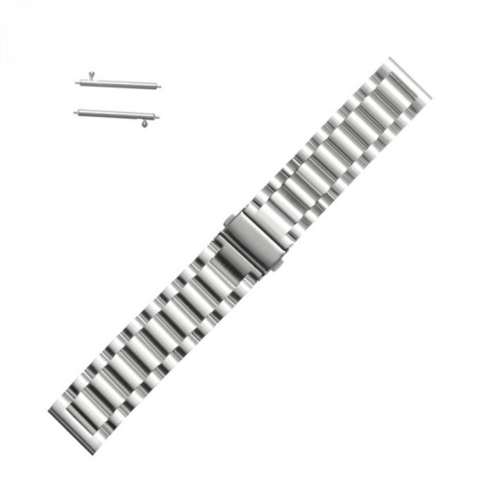 Curea metalica argintie pentru Samsung Gear S2 / Galaxy Watch 42mm / Huawei Watch W2 Sport / Moto 2nd gen 42mm
