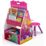 Set 2 in 1 organizator si birou cu tablita si scaun Disney Princess Activity Center, Delta Children