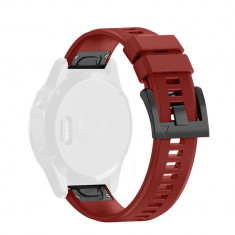 Curea din silicon rosie compatibila cu Garmin Fenix 5 cu prindere tip Quick Release